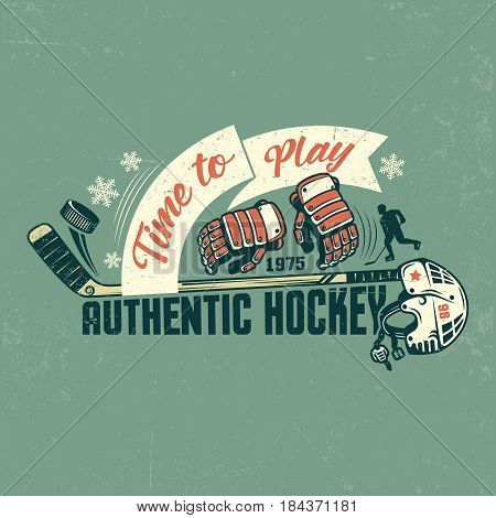Retro hockey poster with stick gloves helmet and ribbon. Shabby texture on separate layers and can be easily disabled