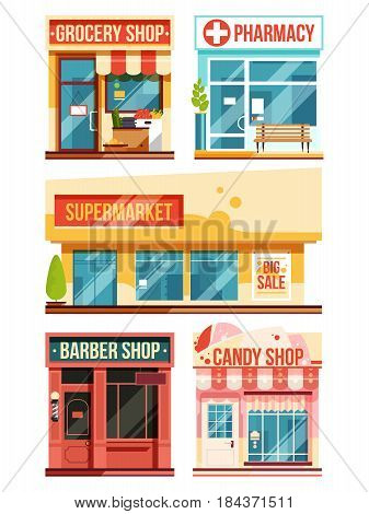Fast food restaurant and boutiques. Vector set isolate on white background. Set of facade retail supermarket, illustration of facade pharmacy and grocery shop