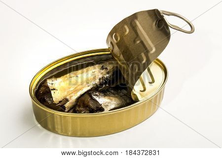 canned sardines in oil isolated on white background