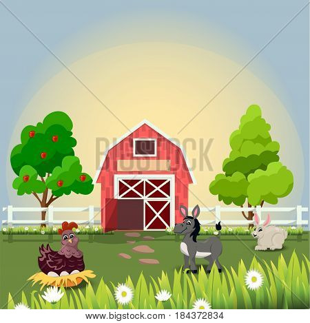 Very high quality original trendy vector illustration of happy and cheerful donkey, hen and rabbit on farm with fruit trees and chamomiles, farm animal