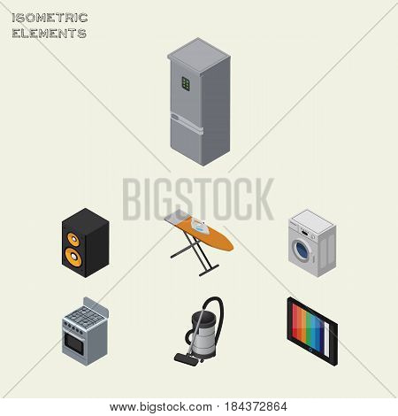 Isometric Device Set Of Stove, Music Box, Vac And Other Vector Objects. Also Includes Ironing, Device, Laundry Elements.