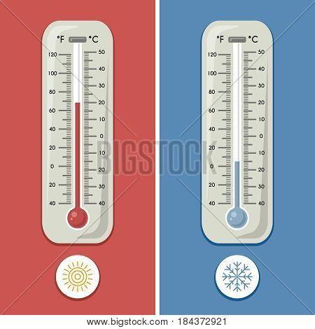 Thermometer of celsius and fahrenheit. Meteorology and different temperature cold and warm. Vector illustrations. Thermometer measurement on celsius and fahrenheit, temperature measurement