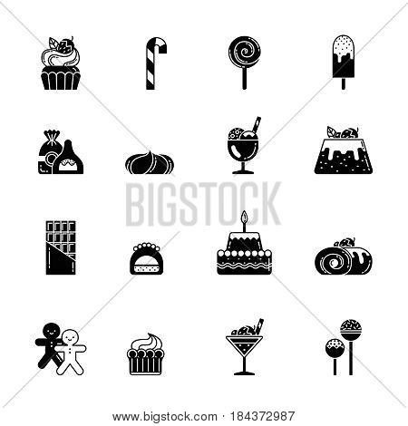 Monochrome black icons of sweet, biscuits and other bakery foods. Ice cream and chocolate cupcake. Vector sweet food bakery and biscuit, illustration of dessert cupcake and bakery