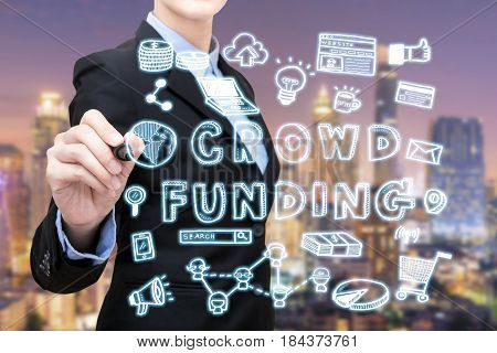 Asian Business Woman Is Writing Crowdfunding Idea Concept. Elegant Design For Smart Business,busines