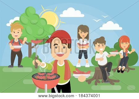BBQ picnic in park. Family or friends having picnic together.
