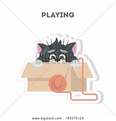Cute playful cat. Isolated cartoon sticker on white background.
