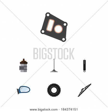 Flat Parts Set Of Auto Component, Combustion, Car Segment And Other Vector Objects. Also Includes Auto, Car, Segment Elements.