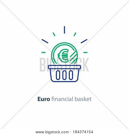 Financial basket, budget planning, fund rising, savings account, euro coin, investment strategy concept, income growth, cash back, vector mono line icon