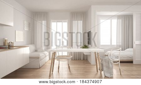 Modern minimal kitchen and living room with bedroom in the background small apartment white interior design, 3d illustration