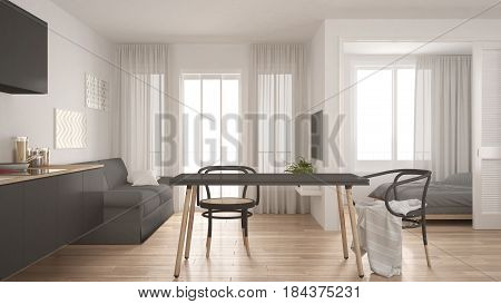 Modern minimal kitchen and living room with bedroom in the background small apartment white and gray interior design, 3d illustration