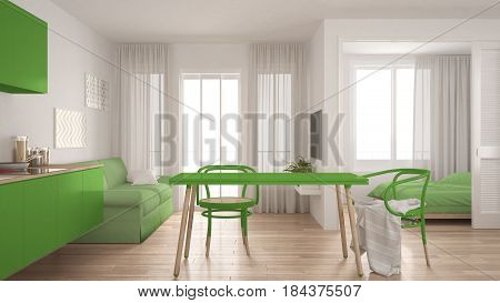 Modern minimal kitchen and living room with bedroom in the background small apartment white and green interior design, 3d illustration