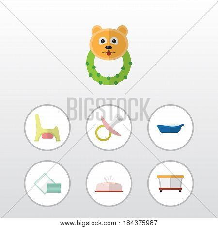 Flat Kid Set Of Tissue, Rattle, Napkin And Other Vector Objects. Also Includes Baby, Bear, Bathing Elements.