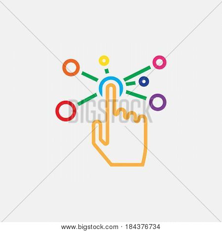 Interactive Interface Line Icon, Color Outline Vector Illustration, Linear Pictogram Isolated On Whi