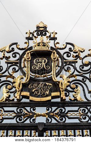 Ornate gate to English garden from 1935