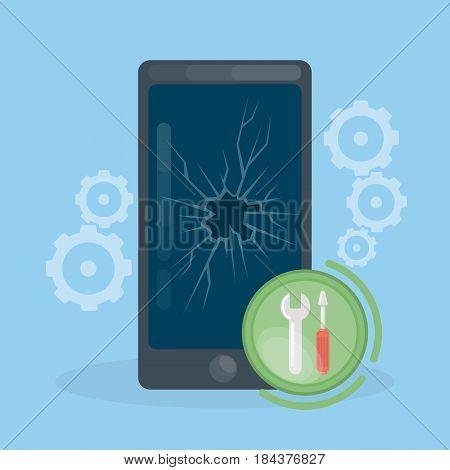 Smartphone repair work. Broken glass on smartphone's screen.