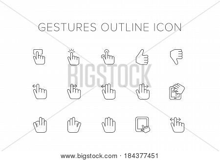 Hand Gestures Line Icon Set. Outline Icon set