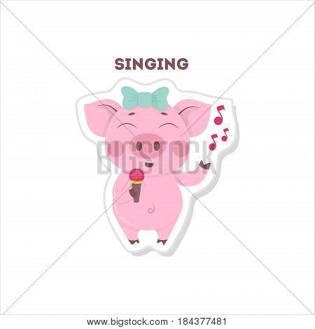 Isolated singing pig sticker on white background.