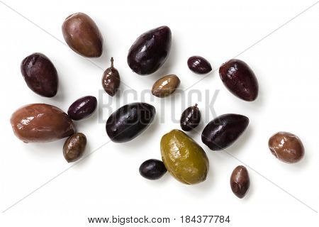Olives isolated on white, top view.  Variety including black, green, wild.