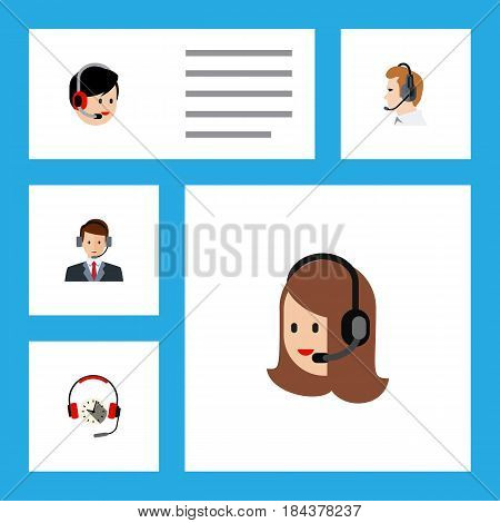 Flat Hotline Set Of Operator, Headphone, Telemarketing And Other Vector Objects. Also Includes Call, Telemarketing, Support Elements.