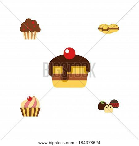 Flat Cake Set Of Dessert, Cake, Biscuit And Other Vector Objects. Also Includes Biscuit, Shortcake, Cake Elements.