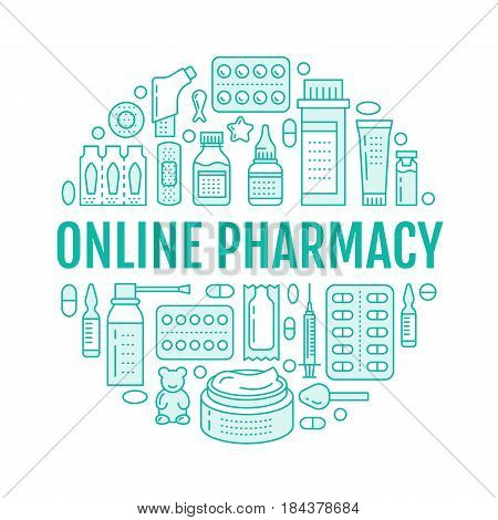Medical, drugstore poster template. Vector medicament line icons, illustration of dosage forms - tablet, capsules, pills. Medicines antibiotics, vitamins. Healthcare banner with text online pharmacy.