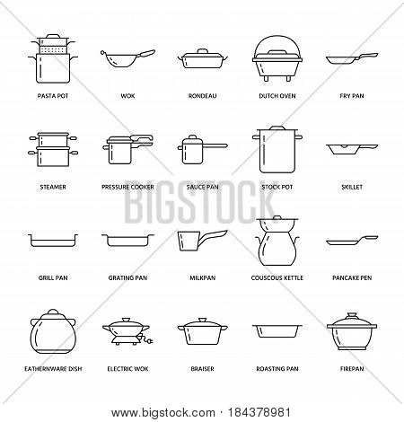 Pot, pan and steamer line icons. Restaurant professional equipment signs. Kitchen utensil - wok, saucepan, eathernware dish. Thin linear signs for commercial cooking store.