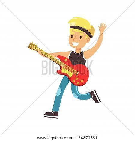 Young smiling boy playing guitar. Cute talented young boy play on musical instrument, music lesson. Colorful character vector Illustration isolated on a white background