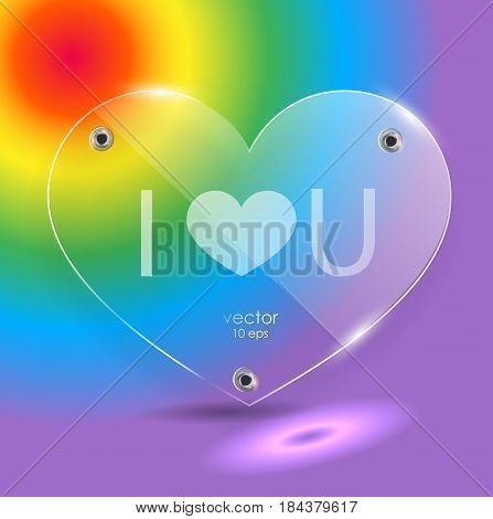 Glass Heart On A Rainbow Background.