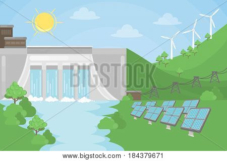 Sustainable energy illustration. Solar and wind and hydro power.