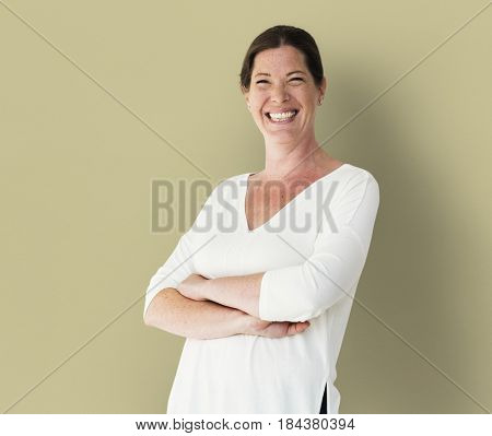 Adult Woman Face Smile Expression Studio Portrait