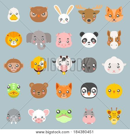 Animals cute baby cartoon cubs flat design head icons character set vector illustration