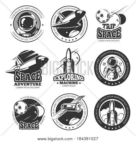 Vintage space, astronautics, shuttle flight vector labels, logos, badges, emblems. Flight shuttle label, illustration of launch ship rocket