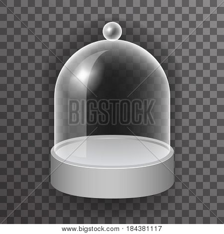 dome glass showcase box isolated 3d realistic shop mockup transparent design background vector illustration
