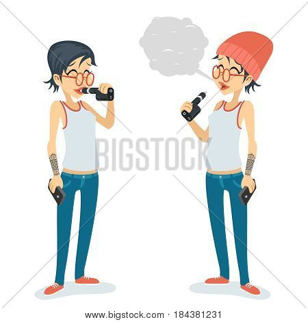 Girl Vape Smoking Female Geek Hipster Casual Character Icon Cartoon Design Vector Poster illustration