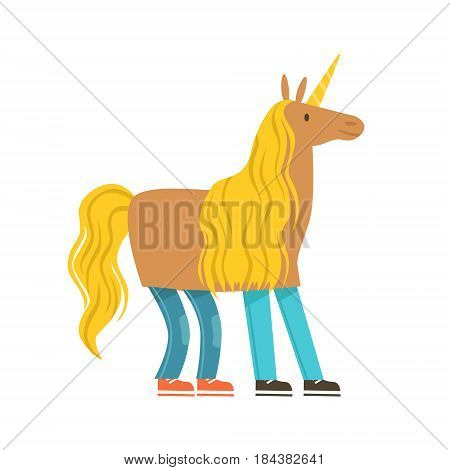 Children dressed as a unicorn, unicorn costume, performing in theatrical show. Happy kids showing his artistic talent in fairytale performance. Colorful cartoon character vector Illustration isolated on a white background