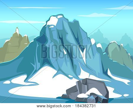 Simple vector background illustration with rock. Big mountains and blue sky, hillside mountain skyline. Landscape with snow mountain, nature outdoor mountain for tourism and mountaineering