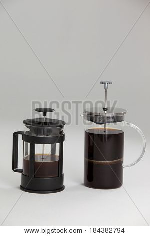 Cafetiere coffeemakers isolated on white background