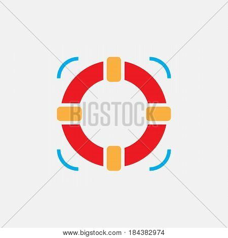 Lifebuoy Solid Icon, Help Color Vector Illustration, Pictogram Isolated On White
