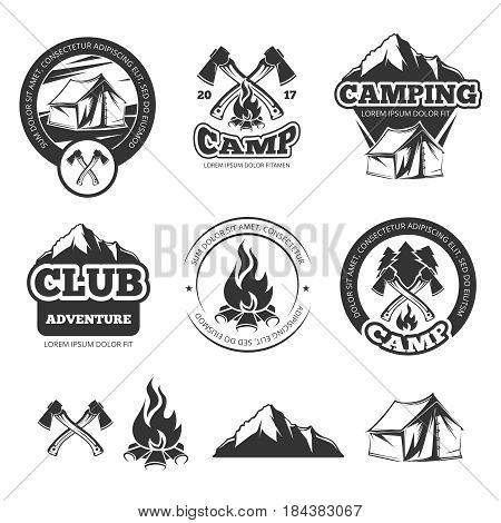 Nature vintage labels set for scout camp. Camping badges with tourist tent. Adventure vector illustrations. Camping and club adventure emblems