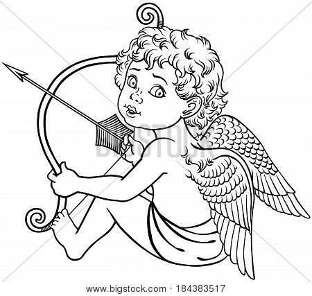 cartoon little angel cupid sitting and  holding a bow with arrow. Black and white outline vector