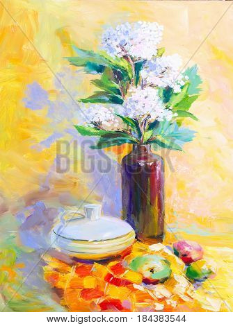 Texture Oil Painting Fruit Painting Colorful Floral