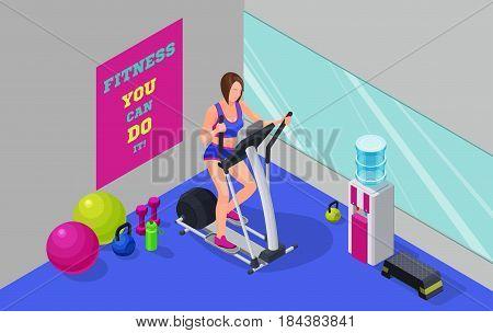 Fitness cardio workout isometric illustration with girl running elliptical machine, sport infographics template vector illustartion