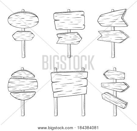 Doodle sign street boards with wood texture. Vector sketch illustration isolate on white background. Directional arrow texture, sketch doodle wooden arrow guidepost