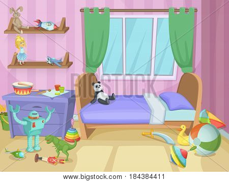 Room for kids with funny toys on the floor. Childrens playing. Vector illustration. Interior child room with toys, kids room