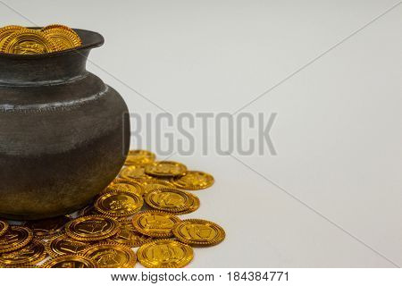 St. Patricks Day pot filled with chocolate gold coins on white background