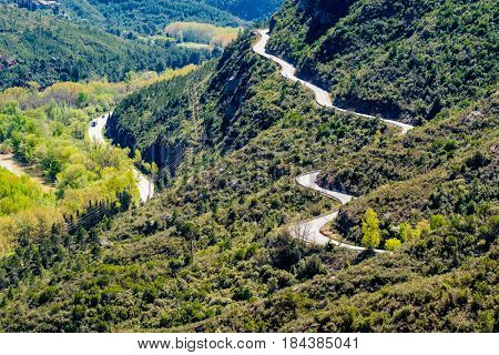 Road in mountains around the monastery of Santa Maria de Montserrat (Montserrat Monastery) in Catalonia, Spain