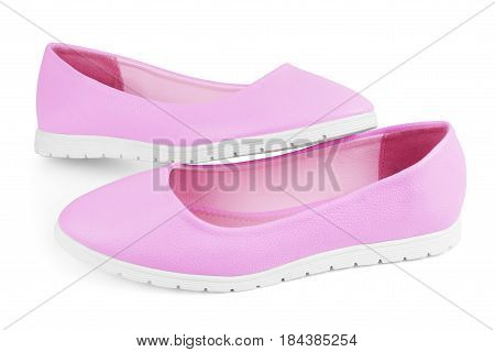 Pink textile ballet shoes with bows isolated over white