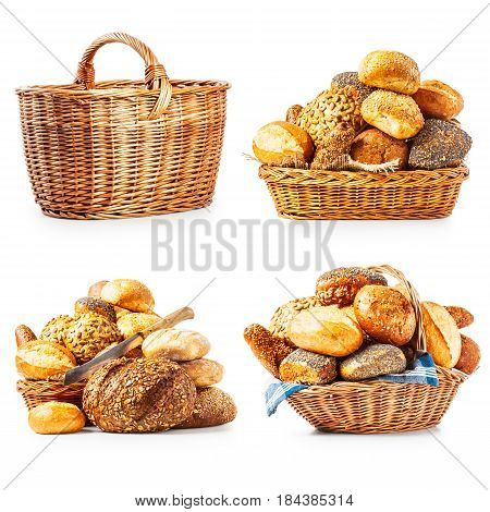 Different fresh bread rolls buns and basket collection isolated on white background