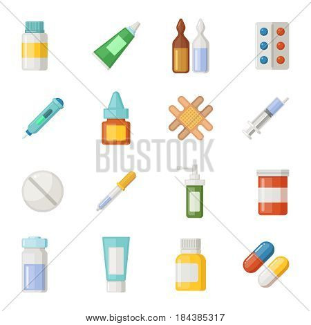 Vector icons set of medications. Drugs and pills isolate on white background. Drug pill for health, syringe and pipette, illustration of ampoule with medical drug