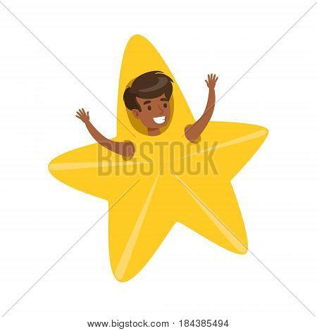 Smiling little boy dressed as an yellow star, performing in theatrical show. Happy kid showing his artistic talent in fairytale performance. Colorful cartoon character vector Illustration isolated on a white background